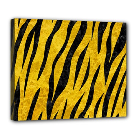 Skin3 Black Marble & Yellow Marble (r) Deluxe Canvas 24  X 20  (stretched)