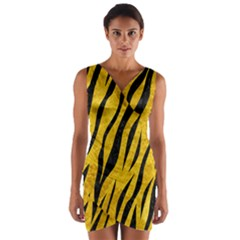SKN3 BK-YL MARBLE (R) Wrap Front Bodycon Dress