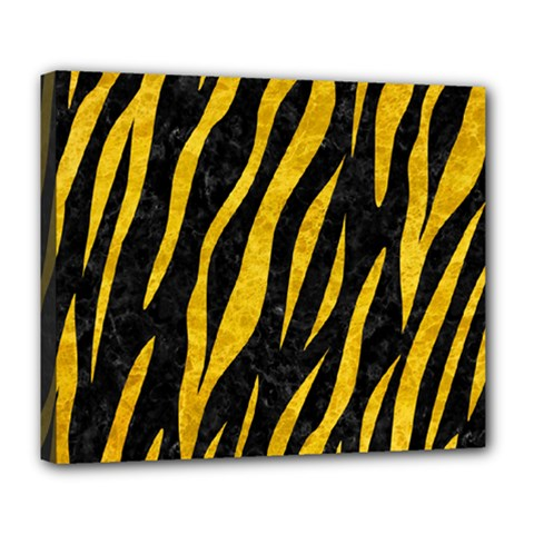 Skin3 Black Marble & Yellow Marble Deluxe Canvas 24  X 20  (stretched)