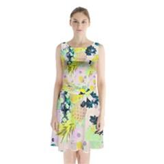 Colorful paint Sleeveless Chiffon Waist Tie Dress