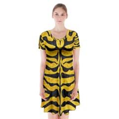 SKN2 BK-YL MARBLE (R) Short Sleeve V-neck Flare Dress