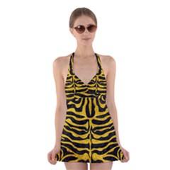 SKN2 BK-YL MARBLE Halter Swimsuit Dress
