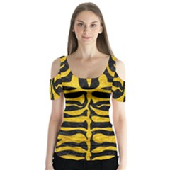 Skin2 Black Marble & Yellow Marble Butterfly Sleeve Cutout Tee