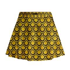SCA2 BK-YL MARBLE (R) Mini Flare Skirt
