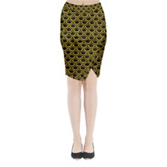 SCA2 BK-YL MARBLE Midi Wrap Pencil Skirt