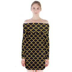 SCA1 BK-YL MARBLE Long Sleeve Off Shoulder Dress
