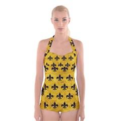 RYL1 BK-YL MARBLE Boyleg Halter Swimsuit