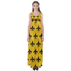 RYL1 BK-YL MARBLE Empire Waist Maxi Dress
