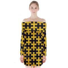 PUZ1 BK-YL MARBLE Long Sleeve Off Shoulder Dress