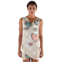 Cute hearts Wrap Front Bodycon Dress