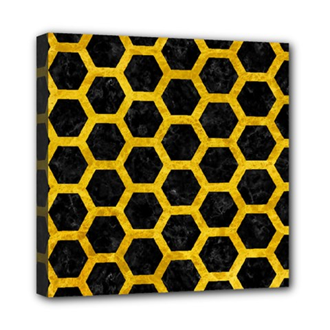 Hexagon2 Black Marble & Yellow Marble Mini Canvas 8  X 8  (stretched)