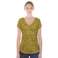 HXG1 BK-YL MARBLE (R) Short Sleeve Front Detail Top