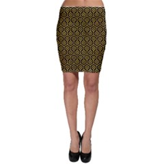 Hexagon1 Black Marble & Yellow Marble Bodycon Skirt