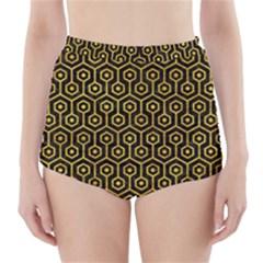 HXG1 BK-YL MARBLE High-Waisted Bikini Bottoms