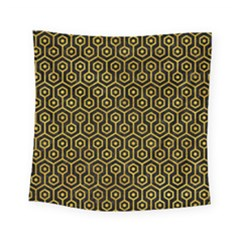 Hexagon1 Black Marble & Yellow Marble Square Tapestry (small)