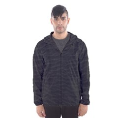 Black Pattern Sand Surface Texture Hooded Wind Breaker (men)
