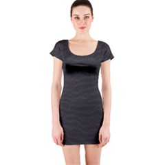 Black Pattern Sand Surface Texture Short Sleeve Bodycon Dress