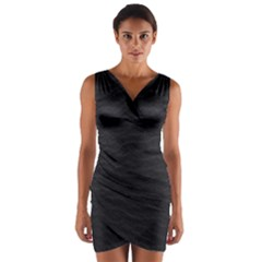Black Pattern Sand Surface Texture Wrap Front Bodycon Dress