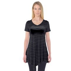 Black Pattern Sand Surface Texture Short Sleeve Tunic