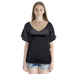 Black Pattern Sand Surface Texture Flutter Sleeve Top