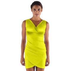 Neon Yellow Wrap Front Bodycon Dress