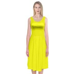 Neon Yellow Midi Sleeveless Dress
