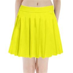 Neon Yellow Pleated Mini Skirt