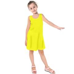 Neon Yellow Kids  Sleeveless Dress