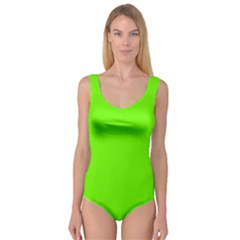 Bright Fluorescent Neon Green Princess Tank Leotard