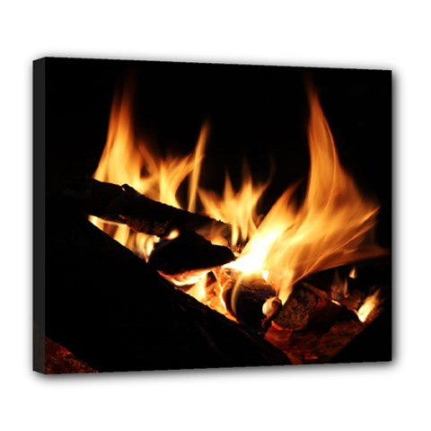 Bonfire Wood Night Hot Flame Heat Deluxe Canvas 24  X 20