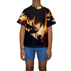 Bonfire Wood Night Hot Flame Heat Kids  Short Sleeve Swimwear