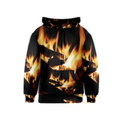 Bonfire Wood Night Hot Flame Heat Kids  Zipper Hoodie