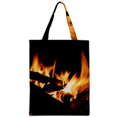 Bonfire Wood Night Hot Flame Heat Zipper Classic Tote Bag