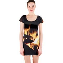 Bonfire Wood Night Hot Flame Heat Short Sleeve Bodycon Dress