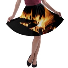 Bonfire Wood Night Hot Flame Heat A Line Skater Skirt