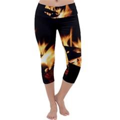 Bonfire Wood Night Hot Flame Heat Capri Yoga Leggings