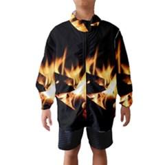 Bonfire Wood Night Hot Flame Heat Wind Breaker (kids)
