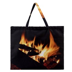 Bonfire Wood Night Hot Flame Heat Zipper Large Tote Bag