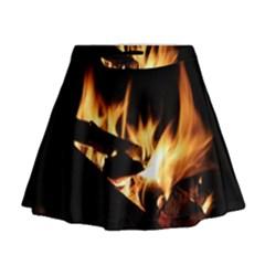 Bonfire Wood Night Hot Flame Heat Mini Flare Skirt