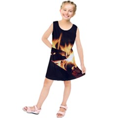 Bonfire Wood Night Hot Flame Heat Kids  Tunic Dress