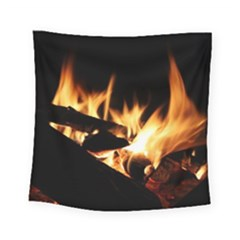 Bonfire Wood Night Hot Flame Heat Square Tapestry (small)