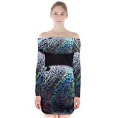 Bubble Iridescent Soap Bubble Long Sleeve Off Shoulder Dress
