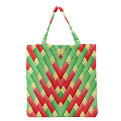Christmas Geometric 3d Design Grocery Tote Bag