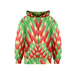 Christmas Geometric 3d Design Kids  Zipper Hoodie