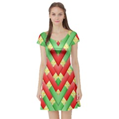 Christmas Geometric 3d Design Short Sleeve Skater Dress