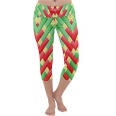 Christmas Geometric 3d Design Capri Yoga Leggings