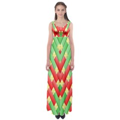 Christmas Geometric 3d Design Empire Waist Maxi Dress