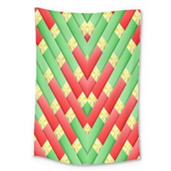 Christmas Geometric 3d Design Large Tapestry