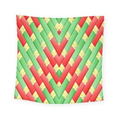Christmas Geometric 3d Design Square Tapestry (small)