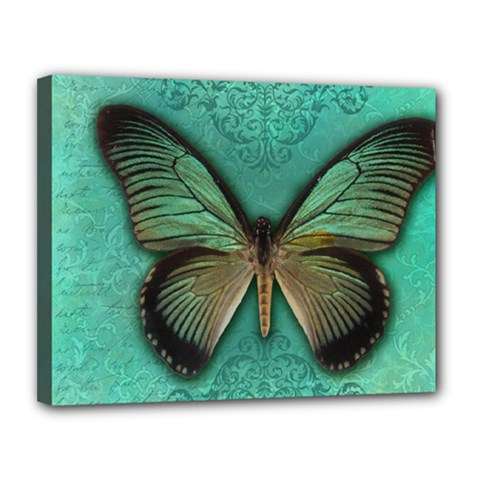 Butterfly Background Vintage Old Grunge Canvas 14  X 11